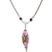 Ceramic Painted Butterfly Pendant and Pink Puff Iridescent Bead Necklace