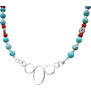 5-Ring Center Focal, Turquoise and Coral Necklace and Earrings