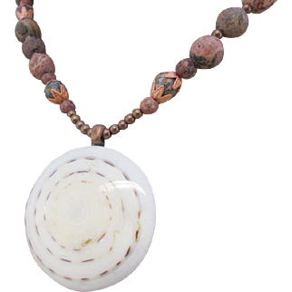 Shell Slice Pendant With Red Leopardskin Jasper Necklace and Earrings