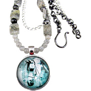 Tourmilated Quartz Gemstones with Horse Pendant Necklace and Earrings