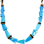 Blue Magnesite Triangle Dyed and Stabilized Necklace and Earrings