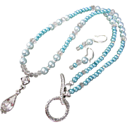 Aqua Blue Glass Pearls and Vintage Rhinestone Pendant Necklace and Earrings