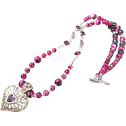 Vintage Filigree Heart with Rose Red Glass Bead and Swarovski Crystal Link Necklace and Earrings