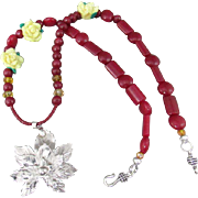 Dyed Ruby Jade Gemstones, Polymer Clay Flowers and Aluminum Leaf Pendant Necklace and Earrings