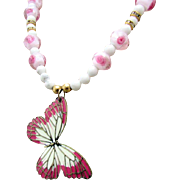 Mauve & White Butterfly with Mashan Jade & Pink Lampwork Roses Necklace and Earrings