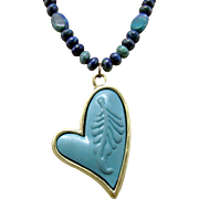 Azurite-Malachite Gemstones with Lopsided Teal Heart Pendant Necklace