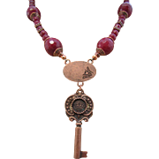 Dyed Cranberry Ruby Stones and Copper Key with Lock Pendant Necklace and Earrings