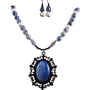 Blue & White Striped Agate Pendant with Sodalite Gemstones Necklace and Earrings