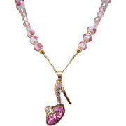 Handmade Austrian Crystal Studded Slipper and Faceted Glass with Pink Flower Necklace Set