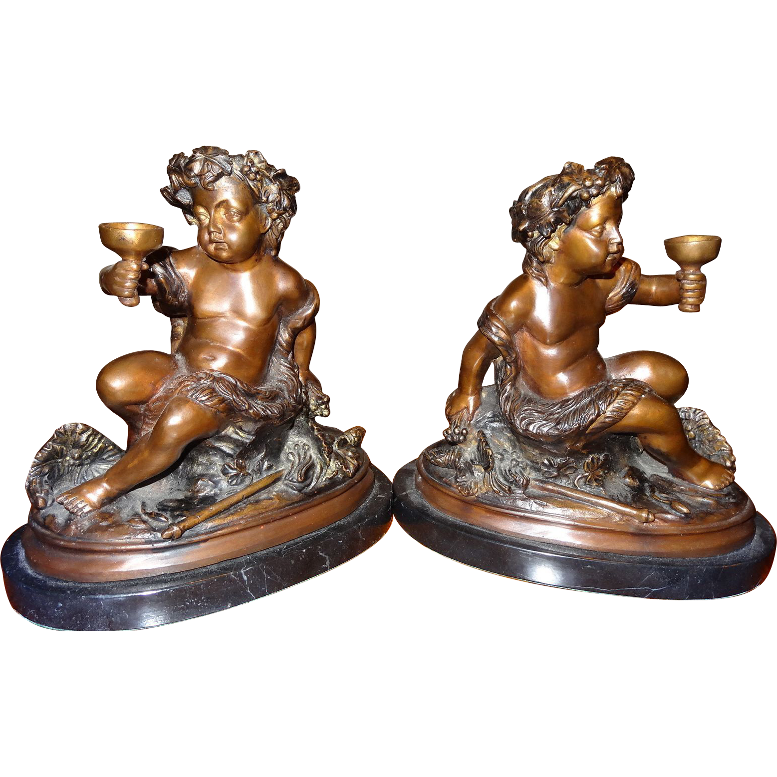 Pair of antique bronze italian bookends mounted to italian marble of sold on ruby lane - Antique brass bookends ...
