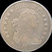 1799 Draped Bust Silver Dollar Irregular Date 15 Stars Bolender-4 BB-153 Very Scarce