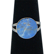 Mexico Eagle Mark 3 Sterling Silver Signed Blue Lapis Lazuli Ladies Vintage Ring Beautiful