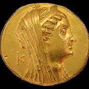 Ptolemaic Egypt Large Gold Ancient Coin Ptolemy VI - VIII, ca. 180-116 B.C. AV Octodrachm Alexandria Mint Arsinoe II