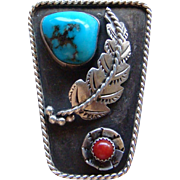Vintage Native American Navajo Indian Sterling Silver Turquoise and Coral Bolo Tie