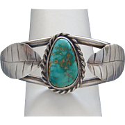 Vintage Native American Navajo Indian Sterling Silver Royston Turquoise Ladies  Cuff Bracelet
