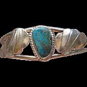 Vintage Native American Navajo Indian Sterling Silver Morenci Turquoise Ladies  Cuff Bracelet
