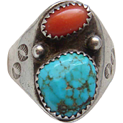 Vintage Navajo Native American Indian Sterling Silver Coral and Turquoise Large  Mens Ring