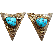 Vintage Navajo Silver 12 Karat Gold Filled Kingman Turquoise Southwestern Shirt Collar Tips