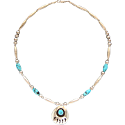 Stunning Sleeping Beauty Turquoise Sterling Silver Bear Paw Pendant Navajo Necklace