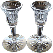 Waterford Irish Lead Crystal Candlestick Pair Lismore Pattern Candle holders
