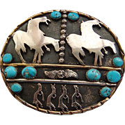 Large End of The Trail Flute Dancers Sterling Silver Gold Sky Blue Kingman Turquoise Large Southwestern Belt Buckle