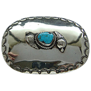 Vintage Large Sterling Silver Sky Blue Kingman Turquoise Signed Michael Thompson Navajo Concho Belt Buckle