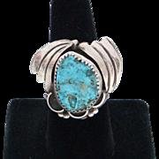 Vintage 1970's Sky Blue Kingman Turquoise Sterling Silver Navajo Men's Ring Size 9