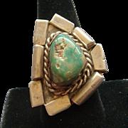 Large Vintage Sterling Silver Green Royston Gem Grade Turquoise Navajo Ring Nice