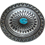 Vintage Sterling Silver Kingman Turquoise Signed Native American Navajo Concho Belt Buckle