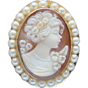 Magnificent Vintage Solid 14 Karat Yellow Gold Shell Cameo Pearl Brooch Pendant Nice