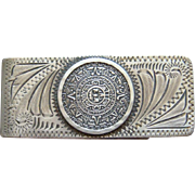 Vintage Sterling Silver Aztec Calendar Engraved Southwestern Money Clip Old Mexico Made Nice