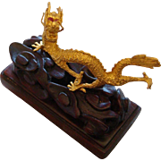 Detailed Miniature Solid 24 Karat Pure 999.9 Gold Signed Imperial Dragon Statue Rose Wood Stand