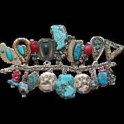 Marvelous Vintage Sterling Silver Turquoise Southwestern Immense Charm Bracelet