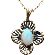 Splendid 14 Karat Yellow Gold White Opal Pendant Necklace October Birthstone