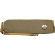Impressive Men's Solid 14K Yellow Gold Money Clip With A Large Diamond Accent Very Handsome
