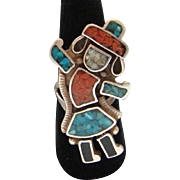 Vintage Sterling Silver Kachina Dancer Zuni Stone Inlay Rainbow Man Ring Elegant