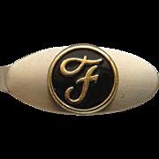 Vintage Yellow Gold Filled Black Enamel Letter F Ford Motor Company Logo Tie Bar