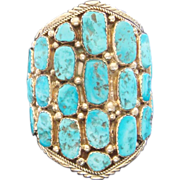 Humongous Vintage Sterling Silver Morenci Turquoise Signed Navajo Cuff Bracelet