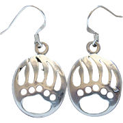 Vintage Sterling Silver Bear Paw Print Dangle Earrings Very Nice