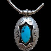 Vintage Sterling Silver Sky Blue Kingman Turquoise Shadow Box Pendant Choker