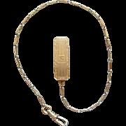 Vintage Art Nouveau Gold Filled Tri Colored Belt Loop Initial Pocket Watch Chain