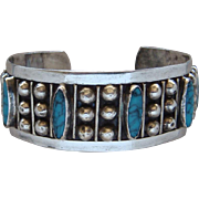 Vintage Sterling Silver Blue Turquoise Bracelet Made In Old Mexico Signed Lovely