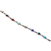 Vintage Sterling Silver Gemstone link Bracelet Made In Old Mexico Turquoise More