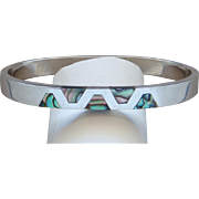 Large Vintage Sterling Silver Abalone Bangle Bracelet Made In Old Mexico Lovely