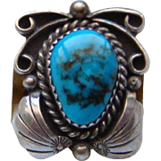 Vintage Signed MC Navajo Sterling Silver Sky Blue Kingman Turquoise Ladies Ring