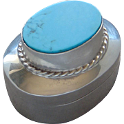 Magnificent Sterling Silver Turquoise Snuff Pill Trinket Box Made in Old Mexico