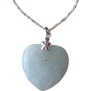 Large Vintage Jade Heart Pendant Set In Sterling Silver With A Sterling Necklace