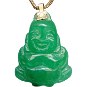 12 Karat Gold Filled Translucent Green Chinese Jade Happy Buddha Pendant Budai