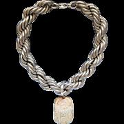 Huge Egyptian Revival Heart Scarab Pendant Gigantic Sterling Silver Necklace