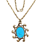 Vintage Sky Blue Kingman Turquoise Pendant 14 Karat Gold Filled Necklace Elegant